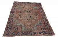 61384 Antique Heriz Wool Rug - 7'6