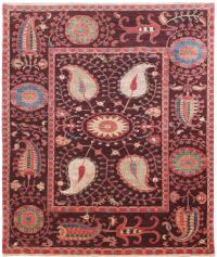 51254 Suzani design with silk highlights woven 6x8.6