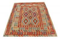 58710 -Afghani Design Vegetable Dyed Wool Kilim Rug - 5′10″ × 6′2″