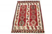 58943 Antique Vegetable Dyed Wool Kilim Rug - 5′5″ × 8′4″