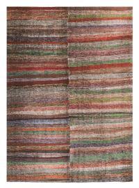 60341 Vintage Turkish Colorful Hand-Made Rug - 7′9″ × 11′10″