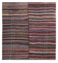 60372 Striped Vintage Turkish Handmade Rag Rug - 8′10″ × 10′7″
