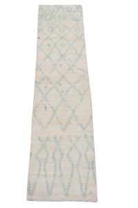 62376 Cream light Blue Moroccan Runner 2'4