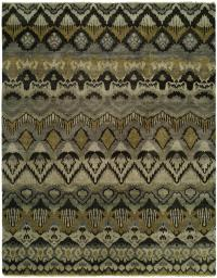 An053 Artisan Hand Knotted Rug Color Grey khaki- 6'x9'