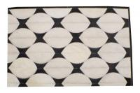 Custom Geometric Cowhides Hojas Milk Ivory Grey