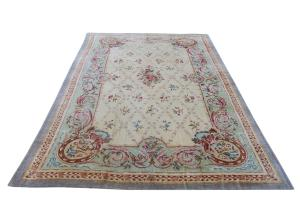 ANTIQUE Hooked Savonnerie design rug 10x16