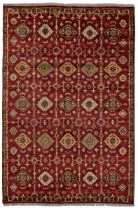 Hand Knotted Rug Color Red Size 5'6x8'6'