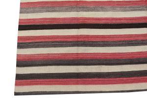 Vintage Turkish Red & Black Kilim Rug- 6'7