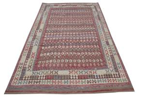 Afghani Design Vegetable Dyed Wool Kilim Rug - 9'8