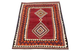 58954 Antique Persian Ghashghaei Vegetable Dyed Wool Kilim Rug - 6′ × 8′2″