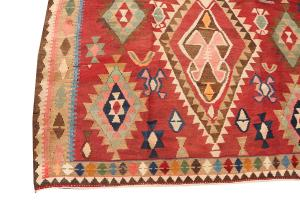 58966 Antique Persian Ghashghgai Vegetable Dyed Wool Kilim Rug - 6'2