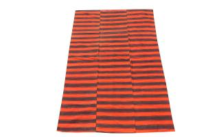 60388-Turkish Modern Handmade Striped Flatweave Textile Rug - 5′6″ × 8′10″