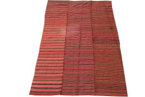 60394 Turkish Modern Handmade Striped Flatweave Textile Rug - 5′11″ × 8′11″