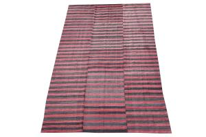 60398 Turkish Modern Handmade Striped Flatweave Textile Rug - 5′11″ × 9′10″