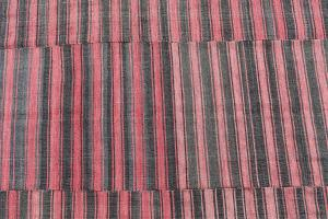 60398 Turkish Modern Handmade Striped Flatweave Textile Rug -9'10