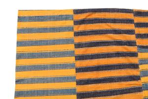 60406 Turkish Modern Handmade Striped Flatweave Textile Rug - 5′4″ × 8′7″