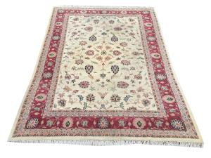 Traditional Hand-Knotted Wool Indian Rug - 9'6