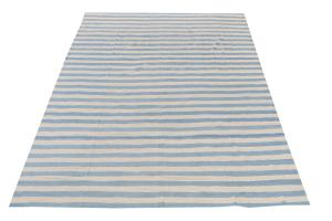 62291 Cream & Blue Stripe Kilim 15'3'x14'9