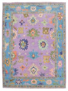 Multi Color Wool Rug Purple, Blue, Green, Orange, Beige. 8'9