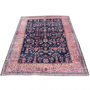 55823 Antique Persian Saruk Navy Pink Rug - 9′4″ × 13′