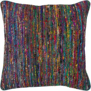 Colorful Sari Silk and Wool Down Fill Modern Pillows 18'x18'