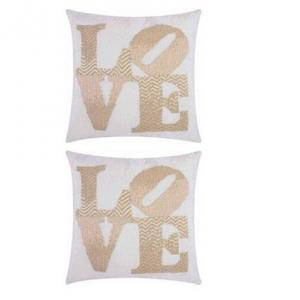 59603 PAIR Modern Love Pillow Silver 20ʺ× 20ʺ