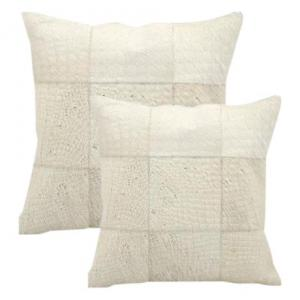 Modern Premium Leather & Cowhide Pillows Grid Pattern 20