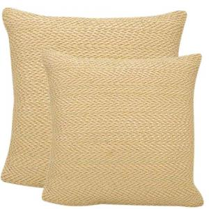 Woven Leather Suede Tan Beige Decorative Pillows - 20