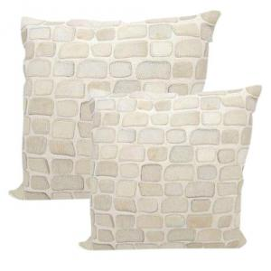 Premium Leather Cowhide Pillows in Pebble Pattern 20