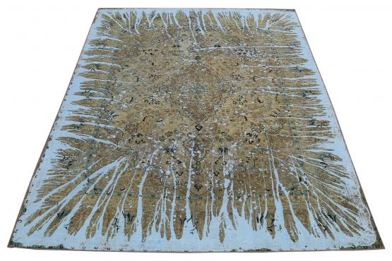 51514 Remodeled Overdyed Persian Rug Size 9'2