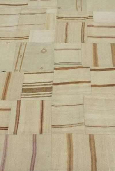 53117 Neutral Patchwork Kilim 6.4x11.4