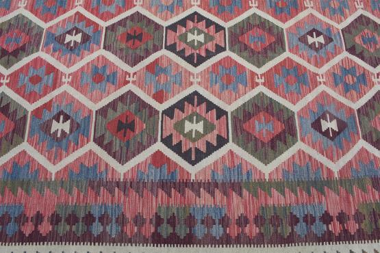 57523 Flatweave multi color Kilim 9'10
