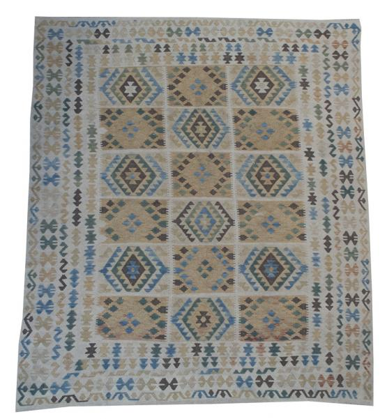 58682 Afghani Design Vegetable Dyed Wool Kilim Rug - 8'3