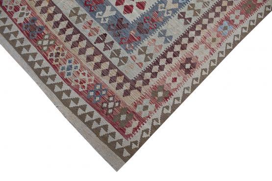 58686 Afghani Design Vegetable Dyed Wool Kilim Rug -10'x13'3