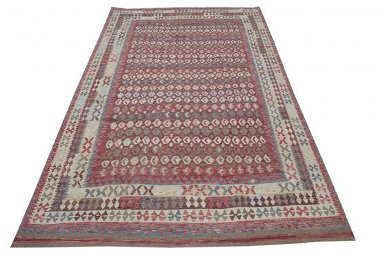 58693 Afghani Design Vegetable Dyed Wool Kilim Rug - 9'8