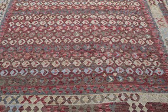 58693 Afghani Design Vegetable Dyed Wool Kilim Rug - 9'8