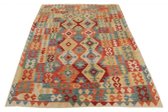 Afghani Design Vegetable Dyed Wool Kilim Rug - 5′7″ × 8′