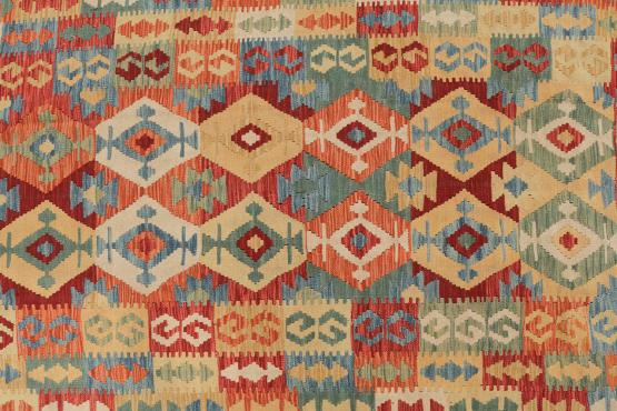 Afghani Design Vegetable Dyed Wool Kilim Rug - 5