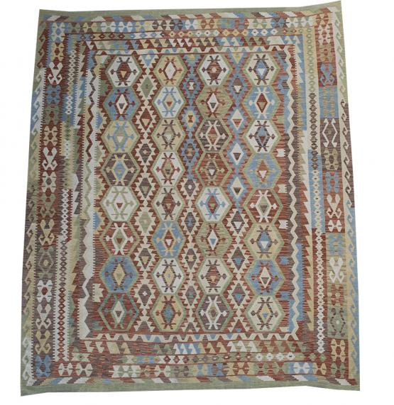 58726 Afghani Design Vegetable Dyed Wool Kilim Rug - 9'2