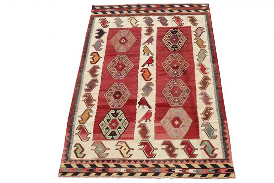 58943 Antique Vegetable Dyed Wool Kilim Rug - 5