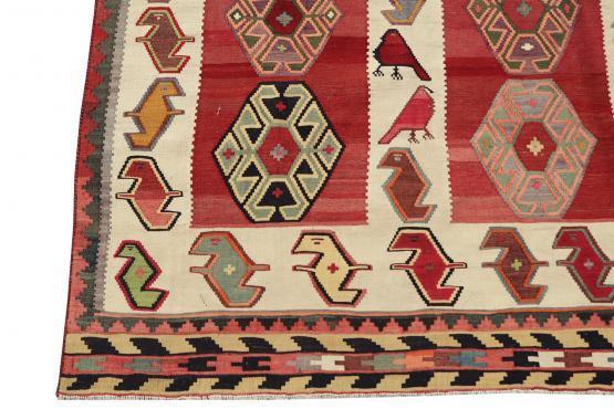 58943 Antique Vegetable Dyed Wool Kilim Rug - 5