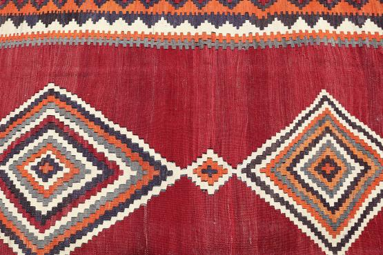 58954 Antique Persian Ghashghaei Vegetable Dyed Wool Kilim Rug - 6