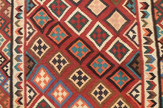 58956 Old Colorful Kilim 4'11