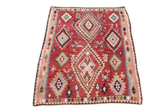 58966 Antique Persian Ghashghgai Vegetable Dyed Wool Kilim Rug - 6′2″ × 8′2″
