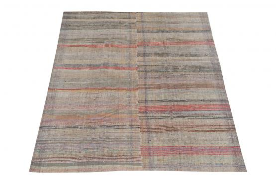 60353 Antique Turkish Handmade Flatweave Rug Size 8'2