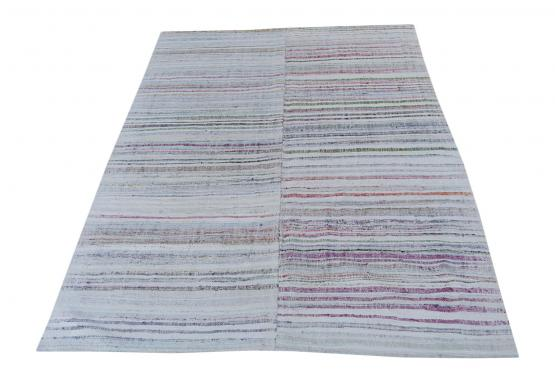 60362 Antique Turkish Multi-Color Handmade Flatweave Rug Size 8'6