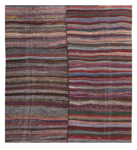 60372 Striped Vintage Turkish Handmade Rag Rug - 8′10″ × 10′7″