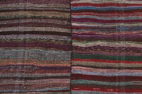 60372 Striped Vintage Turkish Handmade Rag Rug - 8