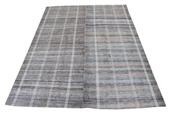 60377 Antique Turkish Multi-Color Handmade Flatweave Rug Size 6'7