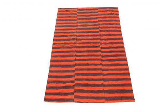 60388-Turkish Modern Handmade Striped Flatweave Textile Rug - 5′6″ × 8′10″